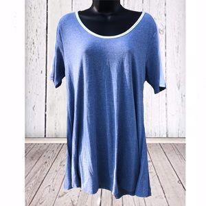 LulaRoe | Blue & White Perfect T Tunic | Medium